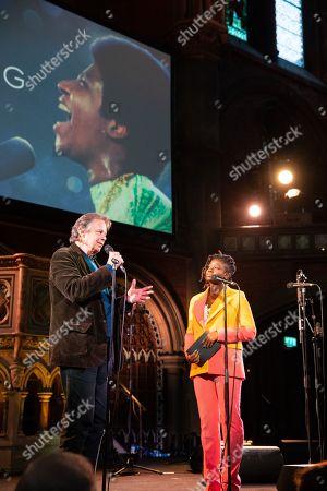 Joe Boyd and Clara Amfo attend the Amazing Grace Screening at the Union Chapel London
