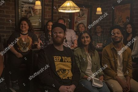 Stock Picture of Henry Zebrowski as Porter, Aparna Nancherla as Anaya and Jermaine Fowler as Russell