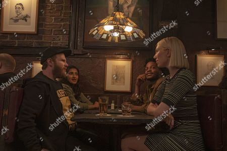 Stock Picture of Henry Zebrowski as Porter, Aparna Nancherla as Anaya, Jermaine Fowler as Russell and Madeline Wise as Kat