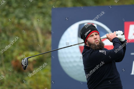 Andrew Johnston of England tees off on the 13th during Day One of the Betfred British Masters at Hillside Golf Club