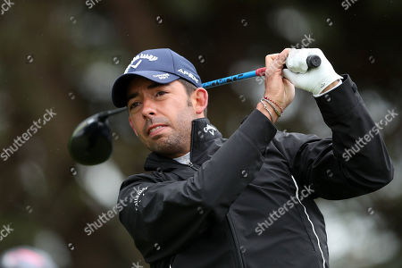 Pablo Larrazabal of Spain tees off on the 9th during Day One of the Betfred British Masters at Hillside Golf Club