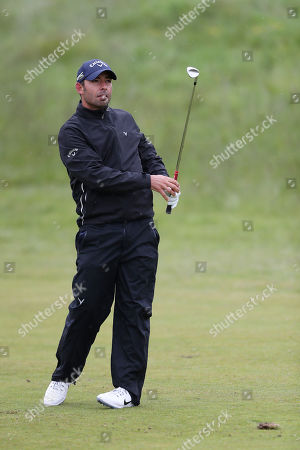 Stock Photo of Pablo Larrazabal of Spain takes his second shot on the 17th during Day One of the Betfred British Masters at Hillside Golf Club