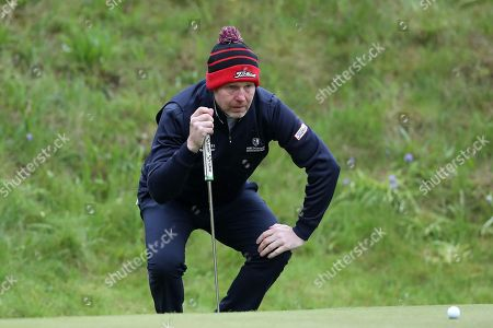 Stock Photo of Stephen Gallacher of Scotland on the 10th during Day One of the Betfred British Masters at Hillside Golf Club