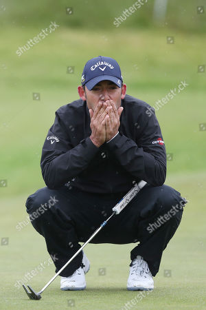Stock Image of Reaction from Pablo Larrazabal of Spain on the 17th during Day One of the Betfred British Masters at Hillside Golf Club