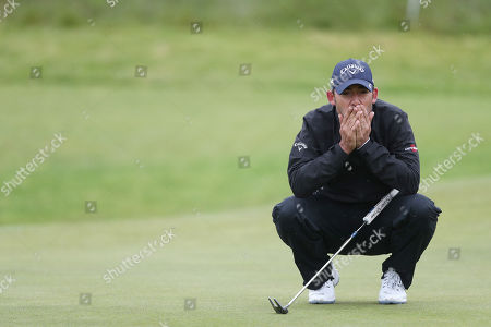Stock Picture of Reaction from Pablo Larrazabal of Spain on the 17th during Day One of the Betfred British Masters at Hillside Golf Club