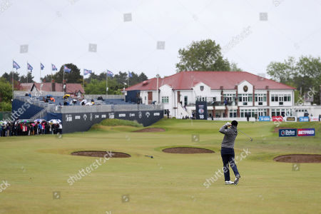 Nicolas Colsaerts of Belgium on the 18th during Day One of the Betfred British Masters at Hillside Golf Club
