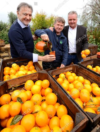 Raymond Blanc (left) joins designers Jean-Yves Baril and Jason Hales(right) amongst the Oranges in the 'Villaggio Verde' 'Orange Express' garden