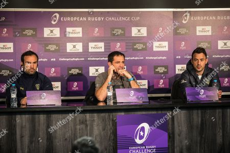 (L-R) Morgan Parra (captain), Franck Azéma (Director of Rugby) and Greg Laidlaw (scrum-half) attend a press conference prior to the European Challenge Cup final at St. James' Park.