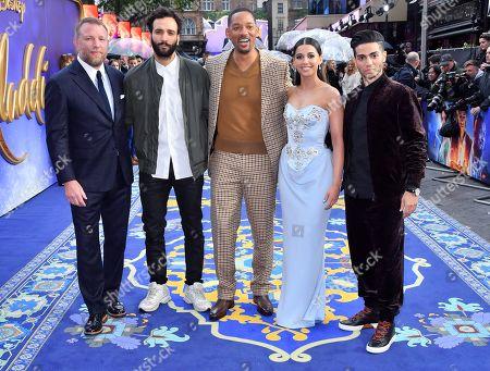Will Smith, Mena Massoud, Naomi Scott, Marwan Kenzari and Guy Ritchie