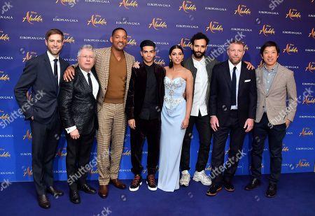 Jonathan Eirich, Alan Menken, Will Smith, Mena Massoud, Naomi Scott, Marwan Kenzari, Guy Ritchie and Daniel Lin