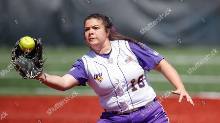 Northern Iowa's Jaclyn Spencer catches the ball against Loyola during an NCAA softball game on in Chicago