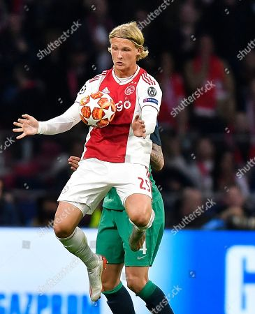 Ajax's Kasper Dolberg controls the ball during the Champions League semifinal second leg soccer match between Ajax and Tottenham Hotspur at the Johan Cruyff ArenA in Amsterdam, Netherlands