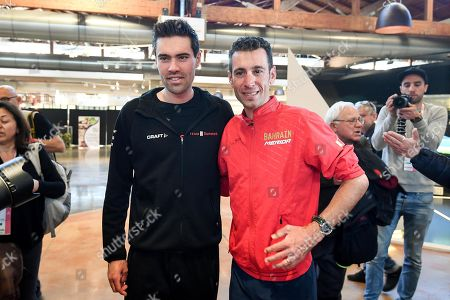 Dutch rider Tom Dumoulin (L) of Team Sunweb and Italian rider Vincenzo Nibali (R) of Bahrain - Merida team pose before a press conference ahead the 2019 Giro d'Italia cycling race in Bologna, Italy, 09 May 2019. The 102nd edition of the Giro d'Italia will start in Bologna on 11 May 2019.