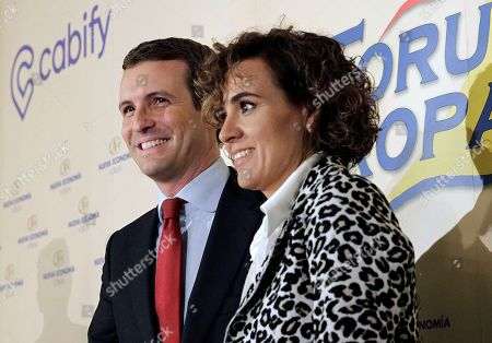 President of People's Party (PP), Pablo Casado (2-R) with PP's head of list for the European elections, Dolors Montserrat (R) during a event held in Madrid, Spain, 09 May 2019. The European Union parliamentary elections will take place from 23 to 26 May 2019.