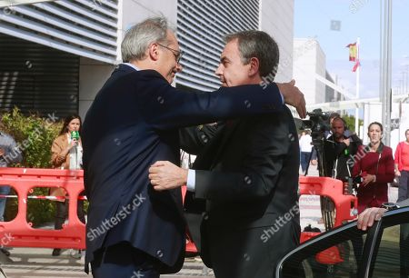 Spanish former Prime Minister Jose Luis Rodriguez Zapatero (R) upon arrival at the Hospital Universitario Puerta de Hierro for visiting former PSOE's party leader Alfredo Perez Rubalcaba, in Madrid, Spain, 09 May 2019. Rubalcaba suffered a brain aneurysm on 08 May 2019 and doctors have assessed his condition as extremely serious.