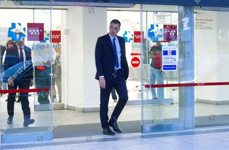 Spanish Prime Minister, Pedro Sanchez (C), leaves the Hospital Universitario Puerta de Hierro after visiting former PSOE's party leader Alfredo Perez Rubalcaba, in Madrid, Spain, 09 May 2019. Rubalcaba suffered a brain aneurysm on 08 May 2019 and doctors have assessed his condition is extremely serious.
