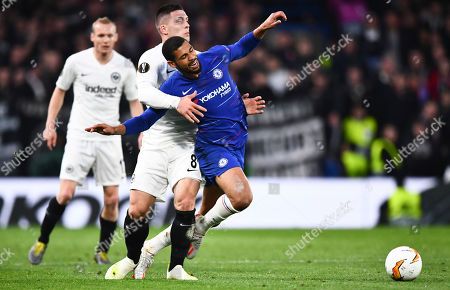Luka Jovic of Eintracht Frankfurt fouls Ruben Loftus Cheek of Chelsea