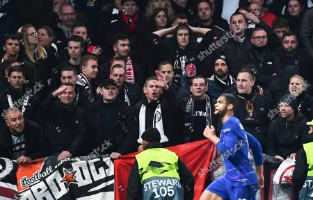 Ruben Loftus Cheek celebrates his goal in front of Frankfurt fans
