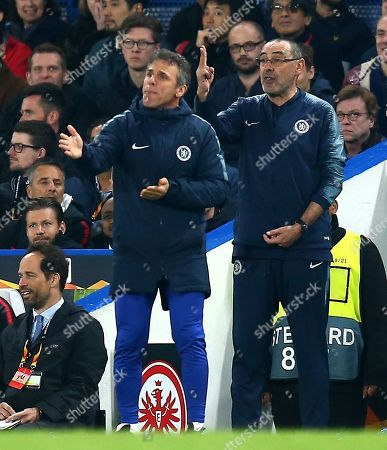 Maurizio Sarri manager of Chelsea and assistant manager Gianfranco Zola