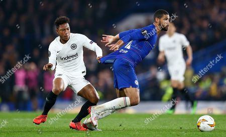 (CAPTION CORRECTION)   Jonathan de Guzman of Eintracht Frankfurt  holds back Ruben Loftus-Cheek of Chelsea by pulling his shirt