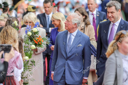 Prince Charles, Camilla Duchess of Cornwall, Bavarian State Govenor Markus Soeder, Reception at the Max-Joseph Square in front of the Residence