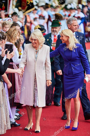 Camilla Duchess of Cornwall, Karin Baumueller-Soeder at a reception at the Max-Joseph-Platz, Munich