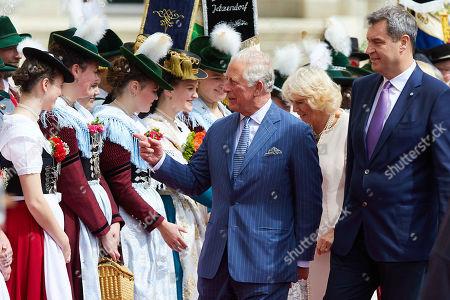 Camilla Duchess of Cornwall, Prince Charles, Bavarian State Premier Markus Soeder at a reception at the Max-Joseph-Platz, Munich