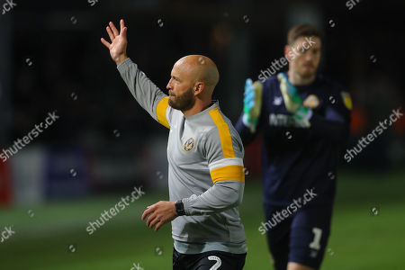 David Pipe of Newport County waves to the fans in what will be his final home match for the club