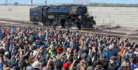 The Big Boy, No. 4014 arrives during the commemoration of the 150th anniversary of the Transcontinental Railroad completion at Union Station, in Ogden, Utah