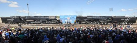 The Big Boy, No. 4014, left, and the Living Legend, No. 844, right, are photographed during the commemoration of the 150th anniversary of the Transcontinental Railroad completion at Union Station, in Ogden, Utah