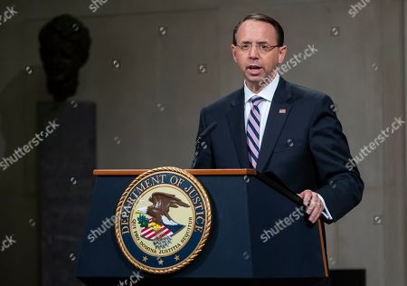 Deputy Attorney General Rod Rosenstein speaks during his 'Farewell Ceremony' at the Department Justice in Washington, DC, USA, 09 May 2019. Rosenstein oversaw Special Counsel Robert Mueller after former Attorney General Jeff Sessions recused himself from the Russian election interference investigation.