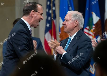 Deputy Attorney General Rod Rosenstein (L) is greeted by former US Attorney General Jeff Sessions (R) during Rosenstein's 'Farewell Ceremony' at the Department Justice in Washington, DC, USA, 09 May 2019. Rosenstein oversaw Special Counsel Robert Mueller after former Attorney General Jeff Sessions recused himself from the Russian election interference investigation.