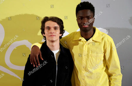 Stock Picture of Fionn Whitehead (L) and French actor Stephane Bak (R) pose during the premiere of 'Roads' at the Lichtburg Cinema in Essen, Germany, 09 May 2019.