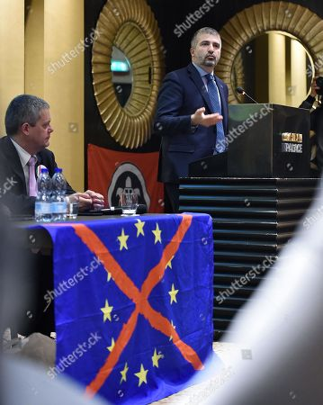Leader of Italian far-right movement 'CasaPound', Simone Di Stefano, during an electoral meeting in Turin, Italy, 09 May 2019.