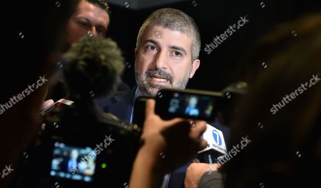"Leader of Italian far-right movement ""CasaPound"", Simone Di Stefano, talks with journalists at an electoral meeting in Turin, Italy, 09 May 2019."
