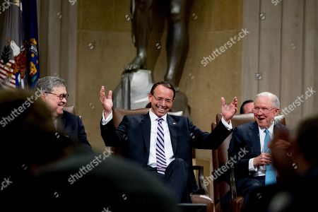 Rod Rosenstein, William Barr, Jeff Sessions. Attorney General William Barr, left, and former Attorney General Jeff Sessions, right, smile as Deputy Attorney General Rod Rosenstein, center, reacts to a speaker as he is honored with a farewell ceremony in the Great Hall at the Department of Justice in Washington, . Rosenstein is set to step down as Deputy Attorney General May 15