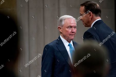 Rod Rosenstein, Jeff Sessions. Deputy Attorney General Rod Rosenstein walks past former Attorney General Jeff Sessions after speaking during a farewell ceremony for Rosenstein in the Great Hall at the Department of Justice in Washington, . Rosenstein is set to step down as Deputy Attorney General May 15th