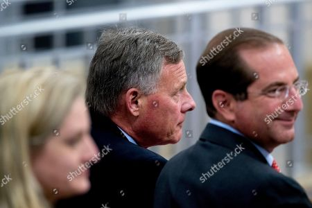 Richard Burr, Alex Azar. Sen. Richard Burr, R-N.C., center, and Health and Human Services Secretary Alex Azar, right, arrive for a farewell ceremony for Deputy Attorney General Rod Rosenstein, right, in the Great Hall at the Department of Justice in Washington, . Rosenstein is set to step down as Deputy Attorney General May 15
