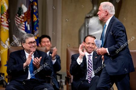William Barr, Rod Rosenstein, Jeff Sessions. Attorney General William Barr, left, and Deputy Attorney General Rod Rosenstein, center, applaud as former Attorney General Jeff Sessions, right, is introduced to speak during a farewell ceremony for Rosenstein in the Great Hall at the Department of Justice in Washington, . Rosenstein is set to step down as Deputy Attorney General May 15th