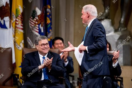 William Barr, Jeff Sessions. Attorney General William Barr, left, applauds as former Attorney General Jeff Sessions, right, is introduced to speak during a farewell ceremony for Deputy Attorney General Rod Rosenstein in the Great Hall at the Department of Justice in Washington, . Rosenstein is set to step down as Deputy Attorney General May 15th