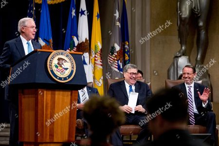 William Barr, Rod Rosenstein, Jeff Sessions. Attorney General William Barr, center, and Deputy Attorney General Rod Rosenstein, right, react as former Attorney General Jeff Sessions, speaks during a farewell ceremony for Rosenstein in the Great Hall at the Department of Justice in Washington, . Rosenstein is set to step down as Deputy Attorney General May 15th