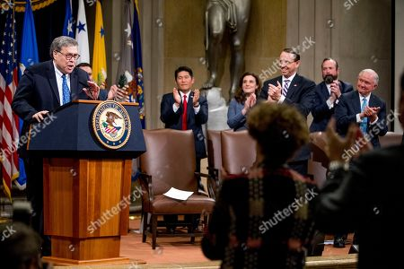 Rod Rosenstein, William Barr, Jeff Sessions. Deputy Attorney General Rod Rosenstein, third from right, and former Attorney General Jeff Sessions, right, applaud as Attorney General William Barr, left, takes the podium to speak during a farewell ceremony for Rosenstein in the Great Hall at the Department of Justice in Washington, . Rosenstein is set to step down as Deputy Attorney General May 15th