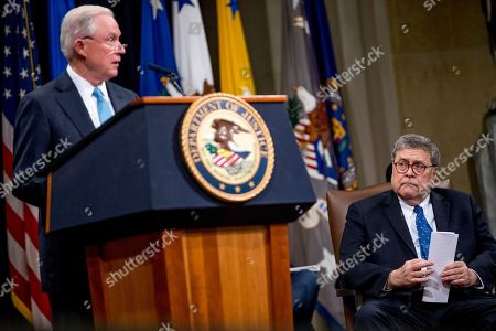 William Barr, Jeff Sessions. Former Attorney General Jeff Sessions, accompanied by Attorney General William Barr, right, speaks during a farewell ceremony for Deputy Attorney General Rod Rosenstein in the Great Hall at the Department of Justice in Washington, . Rosenstein is set to step down as Deputy Attorney General May 15