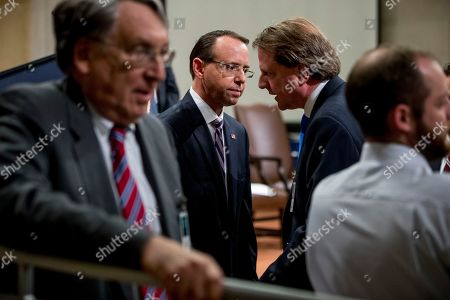 William Barr, Jeff Sessions. Deputy Attorney General Rod Rosenstein, left, speaks with former White House Counsel Don McGahn, right, following a farewell ceremony for Rosenstein in the Great Hall at the Department of Justice in Washington, . Rosenstein is set to step down as Deputy Attorney General May 15th