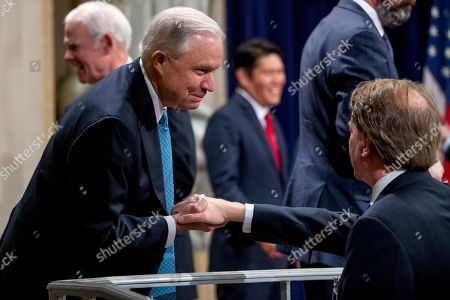 Donald McGahn, Jeff Sessions. Former Attorney General Jeff Sessions, left, speaks with former White House Counsel Don McGahn, right, following a farewell ceremony for Deputy Attorney General Rod Rosenstein in the Great Hall at the Department of Justice in Washington, . Rosenstein is set to step down as Deputy Attorney General May 15th