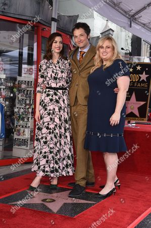 Anne Hathaway with Chris Addison and Rebel Wilson