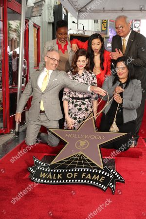 Mitch O'Farrell, Councilman, Dee Rees, Director, Anne Hathaway, Awkwafina, Rana Ghadban, CEO of the Hollywood chamber of commerce, Jeff Zarrinnam