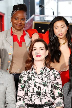 Anne Hathaway (C) poses with US director Dee Rees (L) and US actress Awkwafina (R) as she receives the 2,663rd Star on the Hollywood Walk of Fame in Hollywood, California, USA, 09 May 2019. The star was dedicated in the Category of Motion Pictures