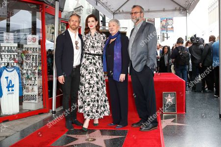 Stock Photo of Adam Shulman, his wife US actress Anne Hathaway, her mother Kate Hathaway, her father Jerry Hathaway as Anne receives the 2,663rd Star on the Hollywood Walk of Fame in Hollywood, California, USA, 09 May 2019. The star was dedicated in the Category of Motion Pictures