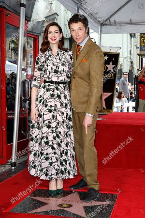 Anne Hathaway and US director Chris Addison as Anne receives the 2,663rd Star on the Hollywood Walk of Fame in Hollywood, California, USA, 09 May 2019. The star was dedicated in the Category of Motion Pictures